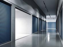 Storage Facilities With Blue Doors. Opened Door. .. 3d Rendering