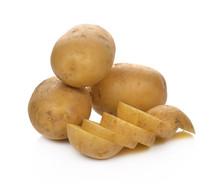 Sliced Potatoes On A White Bac...