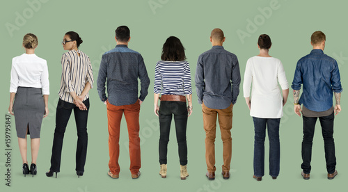 Fotomural  Group of Diverse People Turn Back Side Set Studio Isolated
