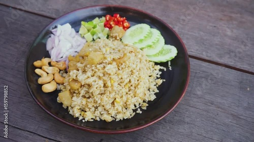 Photo  Fried rice with crackling pork