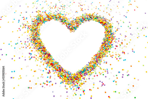 Poster Pixel Heart made of colored confetti. Small circles of colored paper. White background. View from above. Colored heart.