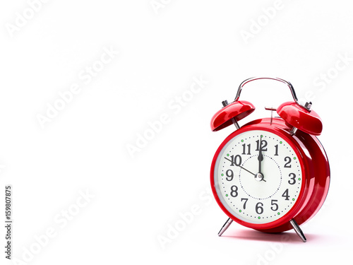 Carta da parati Red clock isolated on white
