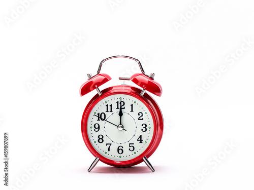 Zdjęcie XXL Czerwony zegar na białym tle
