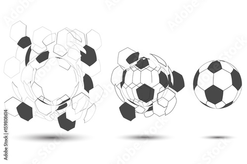 Staande foto Retro sign separate and compound soccer ball 3d design on white background as sport concept