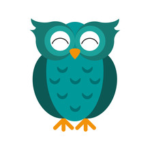 Teal Happy Cute  Owl Icon Imag...