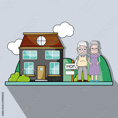 Fotografie, Obraz  old couple together next their house