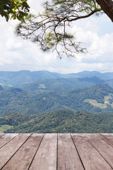 FototapetaEmpty old wooden balcony terrace floor on viewpoint high tropical layer mountain of rainforest