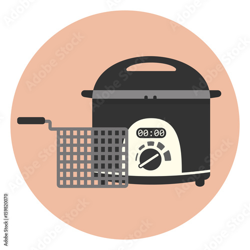 Fotografía  Flat vector electric home fryer icon, chip pan, kitchen appliance, deep frying m