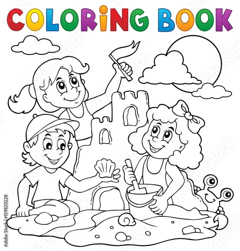 Printed kitchen splashbacks For Kids Coloring book children and sand castle