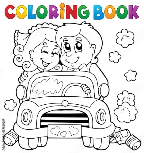 Wall Murals For Kids Coloring book wedding car