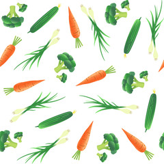 Fototapeta Warzywa Seamless pattern with vegetables. Carrot, cucumber, onion and broccoli. Vector illustration