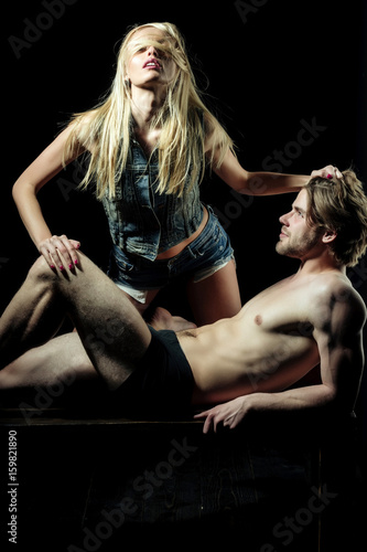 Sexy Passionate Lovers Couple In Love On Black Background