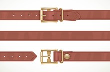 Brown Thin Leather Belt Button...