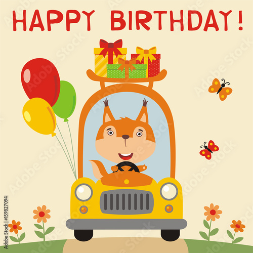 Happy Birthday Funny Squirrel Rides In Car With Gifts And Balloons Card