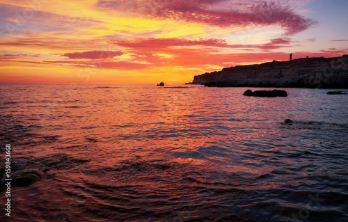 Papiers peints Corail Beautiful summer landscape with sunset, colorful sky and sea. Composition of nature