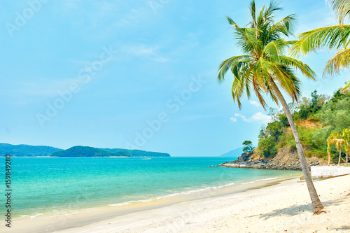 Photo Stands Caribbean Pentai Tengah beach at Langkawi island, Malaysia