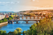 Prague Bridges In The Summer On The Sunset. Czech Republic.