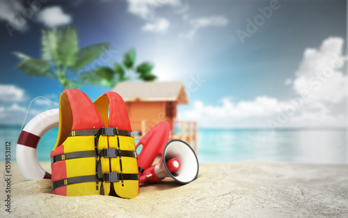 Secure beach concept Life jacket life ring and a horn and other objects on the s Wallpaper Mural