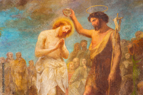 Fotografia TURIN, ITALY - MARCH 15, 2017: The fresco of Baptism of Christ in church Chiesa