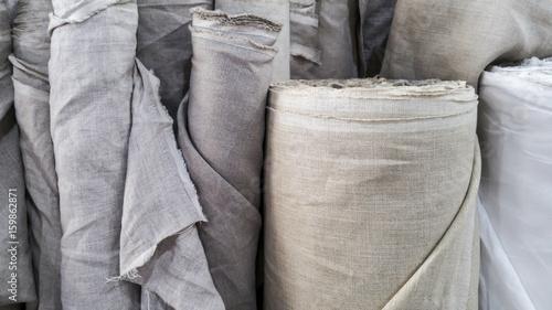Fototapeta Natural linen fabric in roll