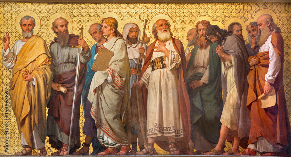 Fototapety, obrazy: TURIN, ITALY - MARCH 15, 2017: The symbolic fresco of Twelve apostles  in church Chiesa di San Dalmazzo by Enrico Reffo (1914).