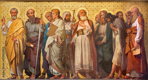 Deurstickers Monument TURIN, ITALY - MARCH 15, 2017: The symbolic fresco of Twelve apostles in church Chiesa di San Dalmazzo by Enrico Reffo (1914).