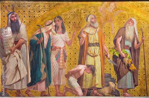 Fotografiet  TURIN, ITALY - MARCH 15, 2017: The symbolic fresco of patriarchs Moses, Joseph, Abraham and Josue in church Chiesa di San Dalmazzo by Enrico Reffo and Luigi Guglielmino (1916)