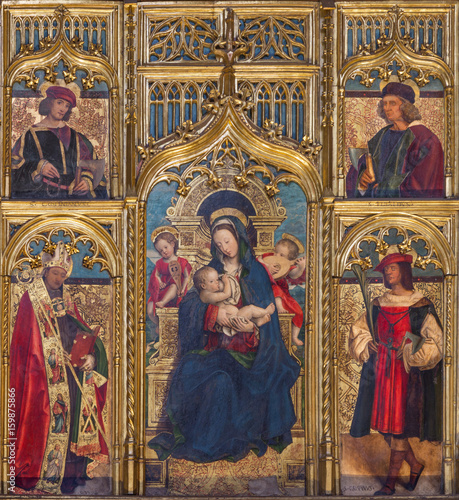 TURIN, ITALY - MARCH 13, 2017: The painting of The Nursing Madonna in Duomo on the altar by Defendente Ferrari (1511 - 1535) Fototapeta
