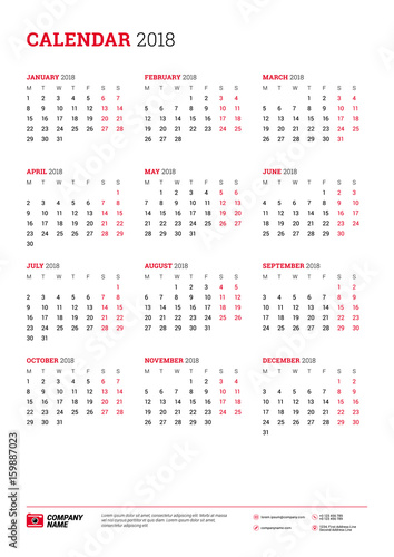 Vector Calendar Poster A3 Size For 2018 Year Week Starts On Monday