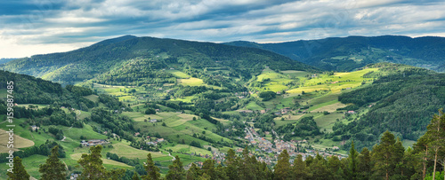 Panorama of the beautiful landscape near Colmar France