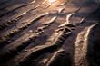 Sandstruktur bei Sonnenuntergang, Abendrot am Meeresstrand