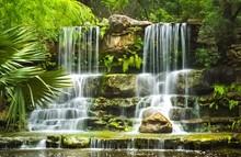 The Waterfalls In Prehistoric Park In Zilker Botanical Garden In Austin Texas