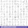 100 ambulance icons set, outline style