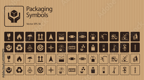 A set of packaging symbols on cardboard background Wallpaper Mural