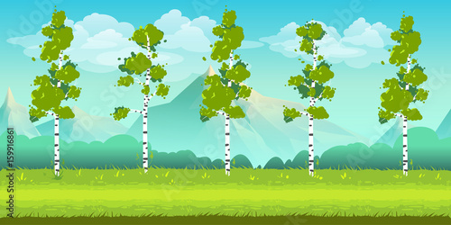 In de dag Lime groen Seamless cartoon nature landscape, unending background with trees, mountains and cloudy sky layers. Vector illustration for your design.