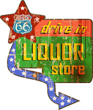 Vintage Liquor Store Sign On The Route 66, Vector Illustration