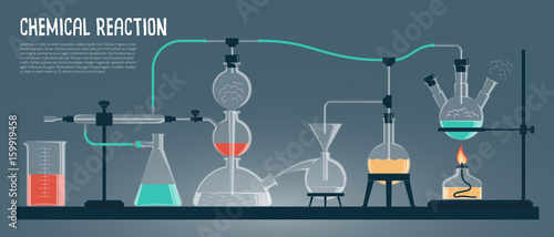 Chemical experiment in the scientific laboratory. Colored Vector illustration.