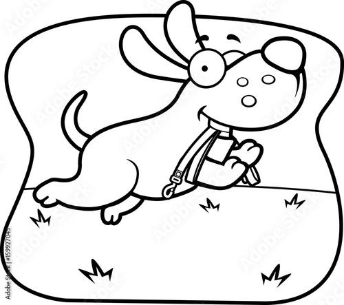 Tuinposter Cartoon Dog Leash