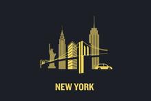 New York City Skyline Illustration. Flat Vector Design.