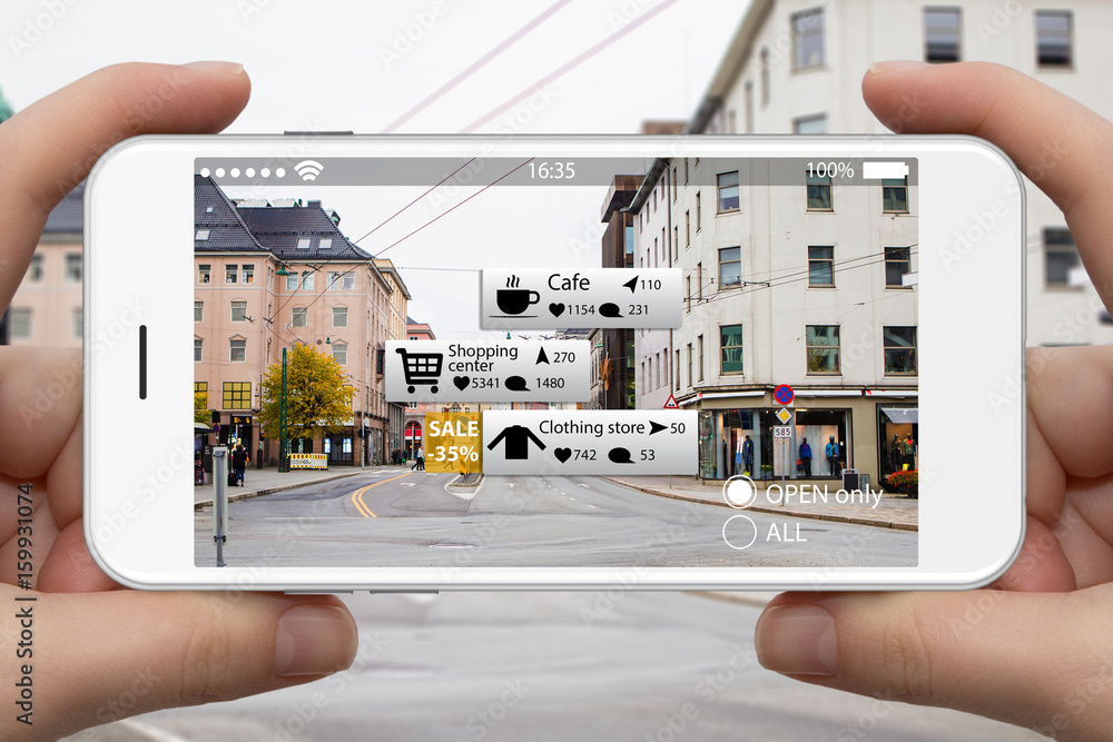 Fototapeta Augmented reality in marketing. Phone in hand, on screen information guide about shopping and entertainment spaces in real time