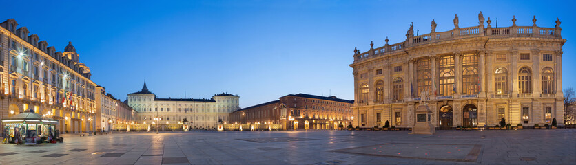 TURIN, ITALY - MARCH 14, 2017: The square Piazza Castello with the Palazzo Madama and Palazzo Reale at dusk.