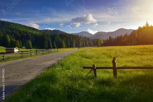 Road to Chocholowska valley at sunset Canvas Print