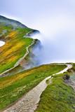 Piękny widok ścieżki w mglistej Tatrach. - 159953808
