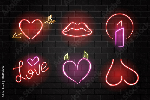Photo  Vector collection of realistic isolated neon erotic signs for decoration on the wall background