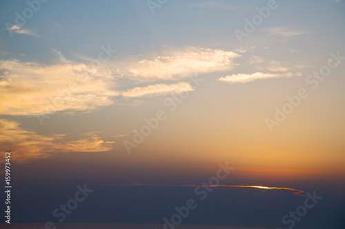 Foto op Aluminium Bergen in the red blue sky cloud and sunrise orange color