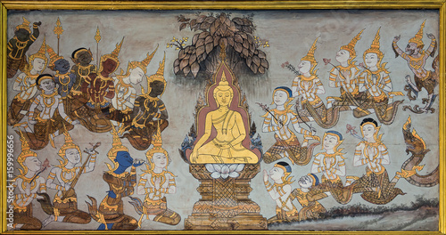 Valokuvatapetti Nakhonratchasima,THAILAND October 2:Mural of History of Buddhism on wall in temple