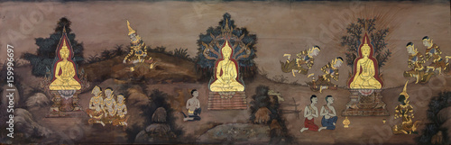Fotografia  Nakhonratchasima,THAILAND October 2:Mural of History of Buddhism on wall in temple