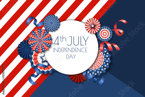 4th of july usa independence day vector banner template color background with paper