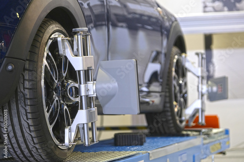 Photo Target of the car wheel angle adjustment equipment fixed on a car wheel