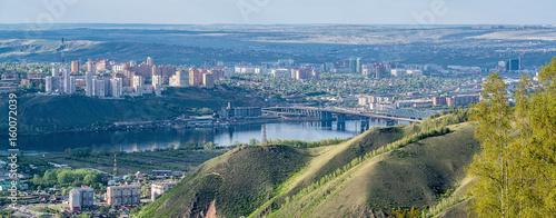 Fototapeta View of the Krasnoyarsk city from the mountain obraz